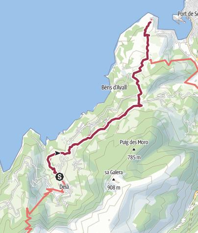 מפה / ESP - Wanderung - GR221 (02) Von Deyá nach zum Port de Sóller