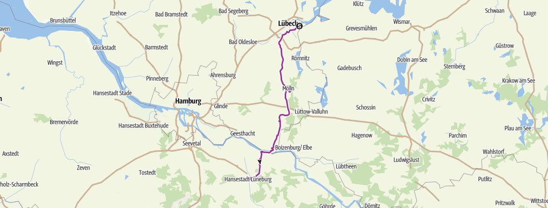 """地图 / Die """"alte Salzstraße"""" von Lüneburg nach Lübeck"""