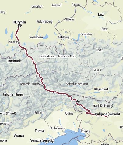 Karte / HikingMunich2Mani. Part I: Munich - Ljubljana