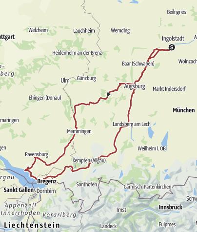 Karte / 29. August 2015 Rollertour nach Friedrichshafen, Lindau und Lindenberg