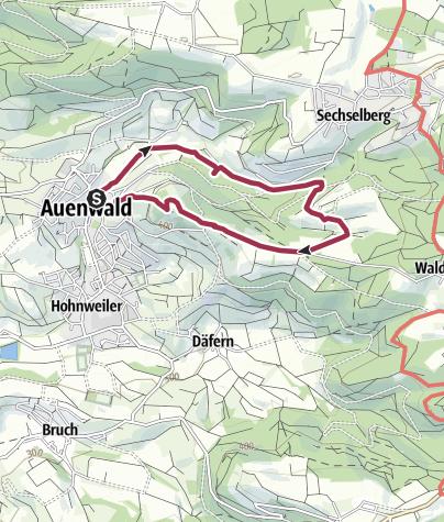 Karte / Auenwald-Lippoldsweiler - Ebersberger Wasserfall