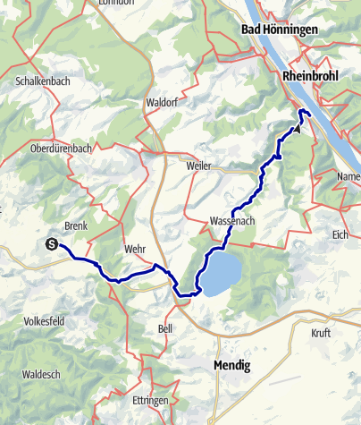 Karte / Vom Bahnhof Engeln über Maria Laach zum Bahnhof Brohl