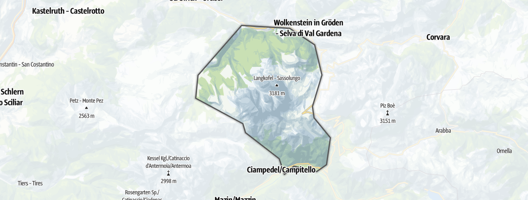 Map / Hiking in the Sassolungo Group