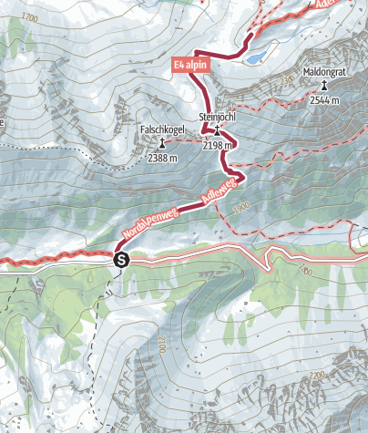 Karte / Hantenjoch - Anhalterhütte