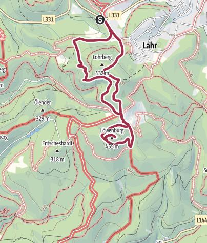 Karte / Rundweg zur Löwenburg im Siebengebirge