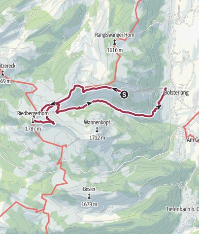 Map / Family hike across Ochsenkopf via Riedberger Horn – climbing for kids