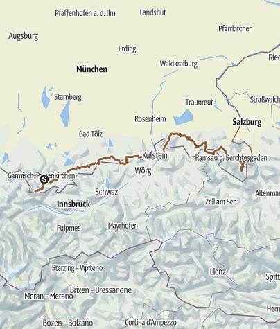 Karte / Oberbayern Cross von Zugspitze bis Watzmann