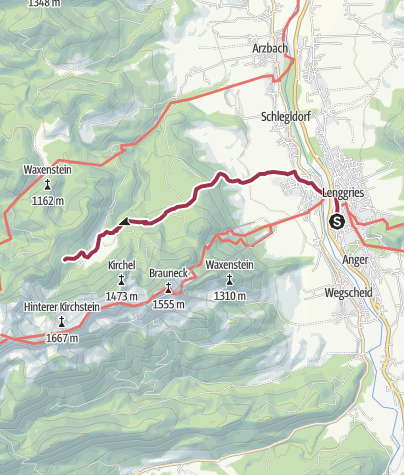 Karte / Längenberghütte vom Bahnhof Lenggries aus