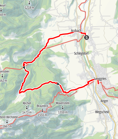 Karte / Obergries nach Lenggries durchs Längental