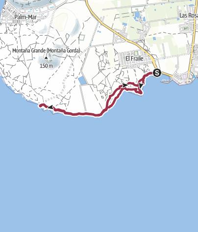 Karte / 23. November 2015 Tenerife Küstenwanderung von Las Galletas zum Leuchtturm