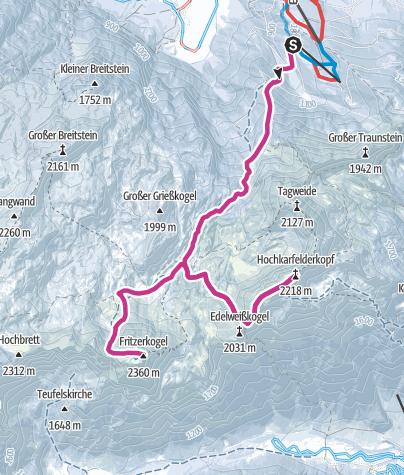 Karte / Tennegebirge Winterwanderung