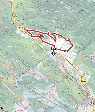 Karte / Geotrail Laas - auf den Spuren eines versteinerten Waldes und glitzernder Schlacke