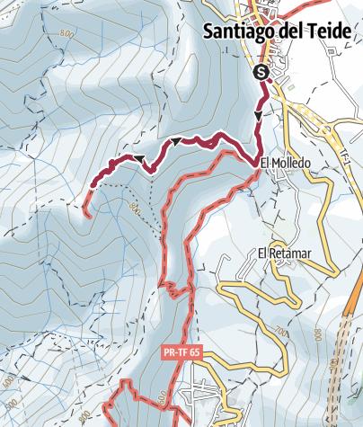 Karte / 14. Dezember 2015 Teneriffa Wanderung ab Santiago del Teide zum Risco Blanco