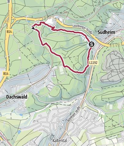 Karte / Vom Kubus365-Hochhaus durch die Heidenklinge zu den Heslacher Wasserfällen und vorbei am Dachswaldblick zurück