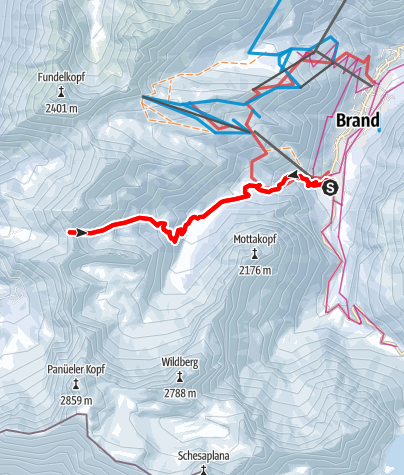 Karte / Skitour auf das Hintere Jöchle (Brandnertal)