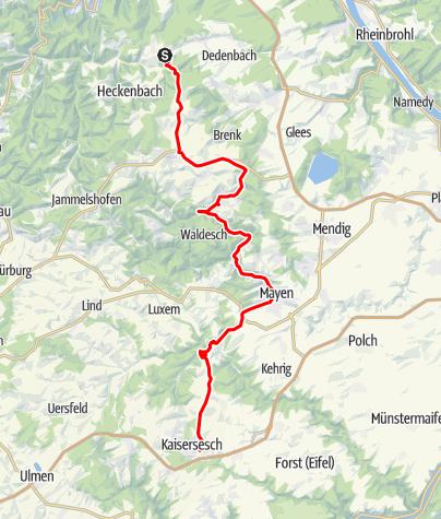 Karte / Eifel– Motorradtour Mayen / Monreal