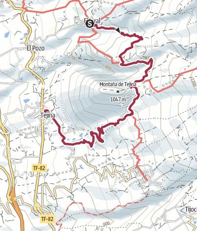 Karte / 3. Februar 2016 von El Jaral  nach Las Fuentes weiter nach Tejina de Isora