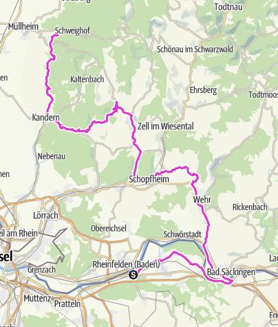 Karte / Rennrad / Tour: Rheinfelden CH  -  Badenweiler