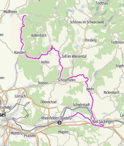 Cartina / Rennrad / Tour: Rheinfelden CH  -  Badenweiler