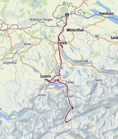 Duisburg-Rom Etappe 07 Rheinfall - Zürich - Luzern - Oberalppass ...