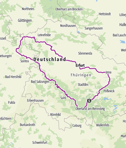 Karte / Tourenplanung am 15. Februar 2016Thüringen- Rennsteig Werratal Unstrut Saaleradweg