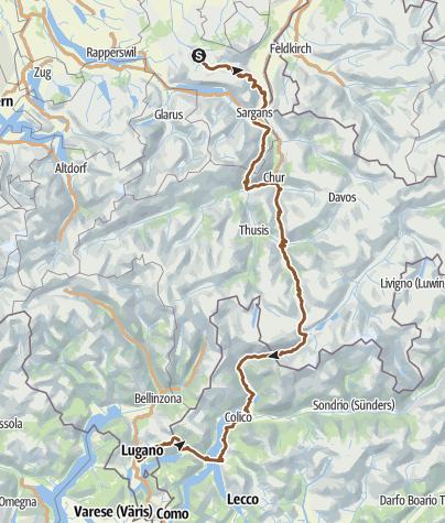 Karte / Trans Alp (v. Nesslau n. Lugano ü. Comer See)