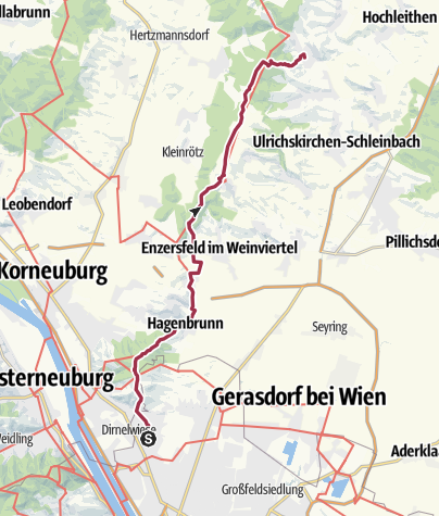 Karte / Per pedes Wien-Laa- Tag 1