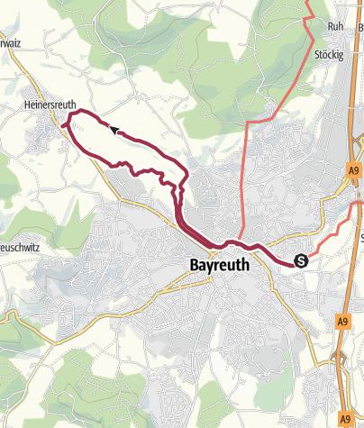 Map / Wanderung am Roten Main durch Bayreuth bis Heinersreuth