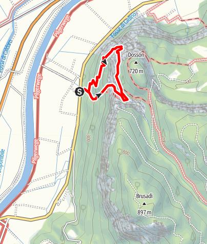 Karte / Via Ferrata Rio Secco: Schluchtklettersteig südlich von Salurn