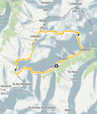 Map / Samnaun-Zeblasjoch-Alp Trida Rundtour