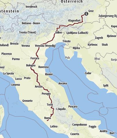 Karte / Romweg Bärnbach - Rom
