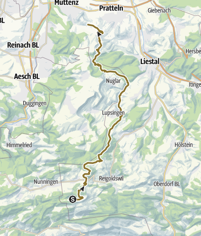 Cartina / Wanderritt vom Stierenberg nach Muttenz