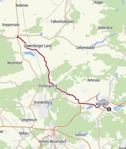 Karte / Berlin-Warnemünde: 2. Etappe Wandlitz-Löwenberger Land