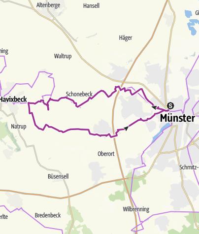 Karte / Radtour: Radeln auf den Spuren der Droste