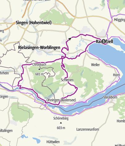 Karte / E-Bike Tour Radolfzell-Stein-Schienen,  zurück über den Schienerberg