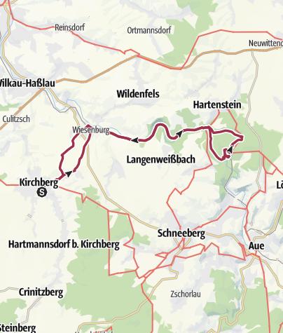 Karte / Rundwanderung Kirchberg - Prinzenhöhle Hartensteiner Wald