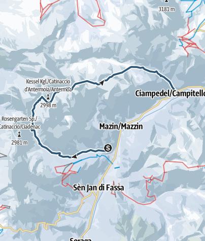 Karte / Skitour Rosengartendurchquerung