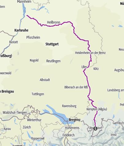 Karte / Tour d'Allemagne Part 1 #tourdallemagne Oberstdorf Hockenheim 420 km