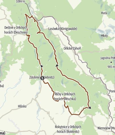 Cartina / Orlické hory: Zdobnice - Šerlich - Velká Deštná - Říčky - Zdobnice