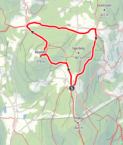 Karte / Käsplatte-Kolmberg-Münchshöfen von Hinterwies