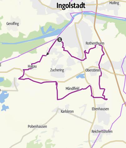 """Karte / 19. April 2016 Frühaufsteher Tour """" Rund um Ingolstadt """""""