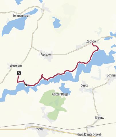 Karte / Wanderung von Weseram nach Zachow am Haveldeich entlang