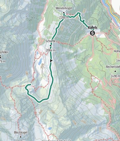 Karte / Von Köfels über der den Wenderkogel zur Frischmannhütte