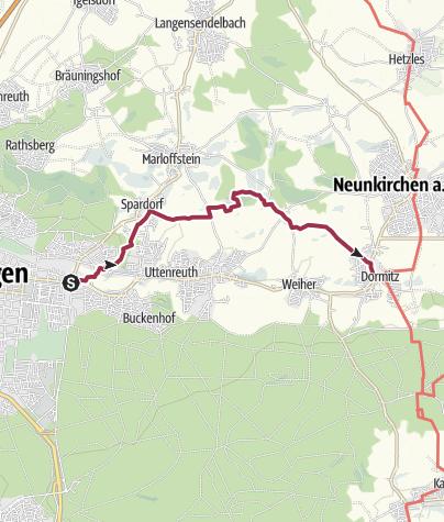 Karte / Markuskirche, Erlangen - Rosenbach - Dormitz