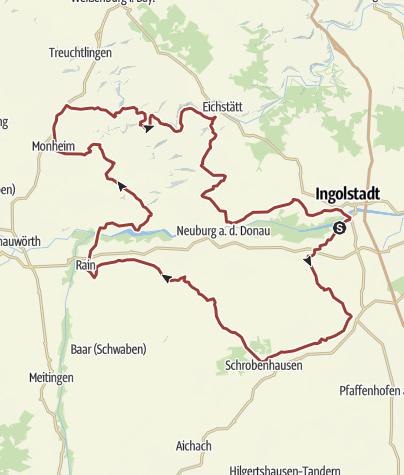 Karte / 14. Mai 2016 Samstags-Rollertour mit Mittagessen in Rain am Lech