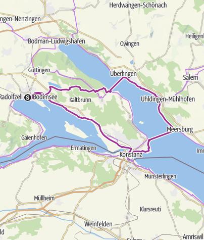 Karte / E-Bike Tour Radolfzell-Wallhausen-Überlingen-Meersburg-Konstanz-Radolfzell