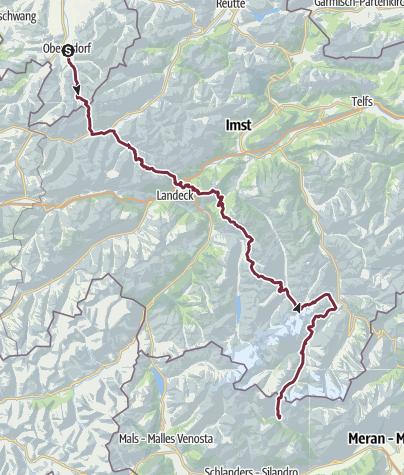 Karte / Alpenüberquerung von Oberstdorf nach Meran