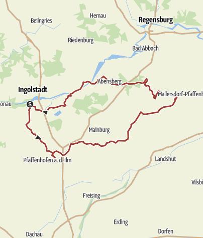 Karte /  18. Mai 2016 Rollertour mit Stopp am Hundertwasserturm Abensberg