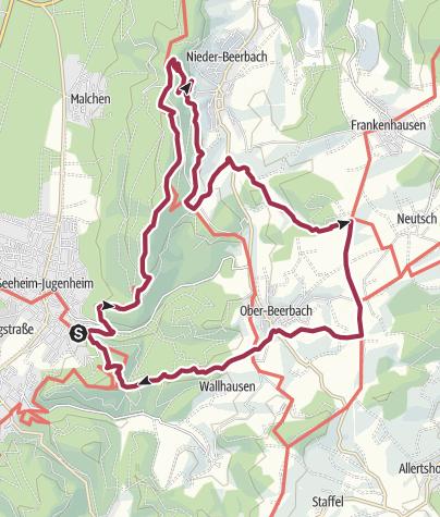 Karte / Rundwanderung: Seeheim-Jugenheim - Burg Frankenstein - Ober-Beerbach