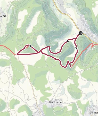 Map / Bad Urach - Uracher Wasserfall - Hohe Warte - Güterstener Wasserfall - Bad Urach